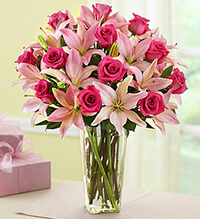 1-800-flowers.com Mothers Day Pink Rose and Lily boquet