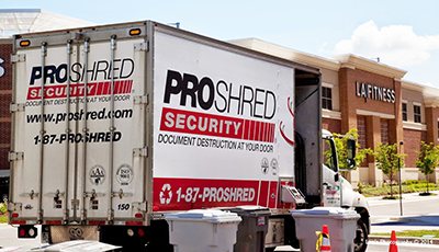 ProShred truck in front of LA Fitness