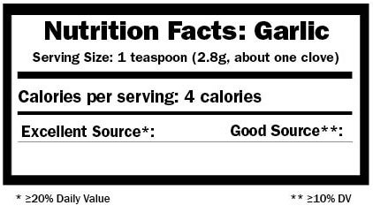garlic nutrition label