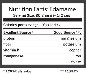Nutrition facts label for edamame