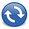 ICON: blue button with exchange arrows