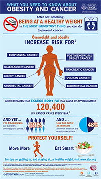 Obesity and Cancer infographic thumbnail link to full-sized graphic page