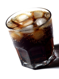 Cola on the Rocks in Glass