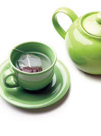 Green Teacup Saucer and Pot