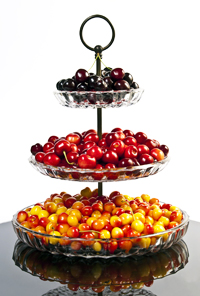 Cherries in a 3 Tiered Server