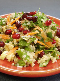 Quinoa and Pomegranate Salad with Asparagus and Walnuts