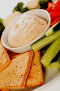 Humus with pita and veggies