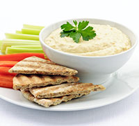 pita, veggies, and dip