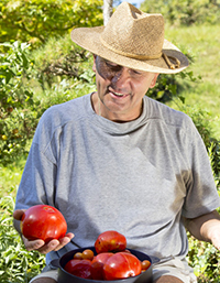 older man in garden with tomatoes