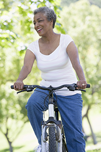Older Black Woman Bike