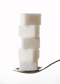 Stacked Sugar Cubes in spoon