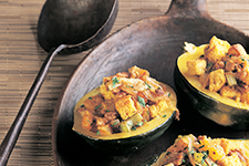 Acorn Squash Stuffed with Apricots and Cornbread