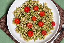 Fusilli with Broccoli Rabe Pesto and Burst Cherry Tomatoes