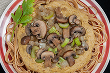 Cremini Mushrooms with Cashew Cream Sauce over Linguini