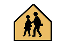 School Crossing sign with Fat Kids