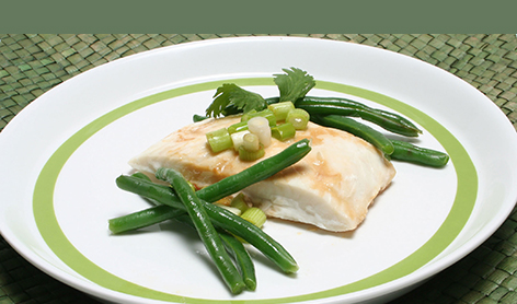 Halibut with Ginger  and green Beans