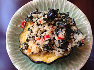 Roasted Acorn Squash with Kale and Quinoa