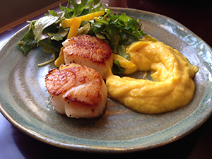 Seared Scallops with Beet Puree and Arugula Salad