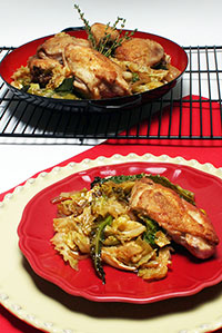 Chicken Baked with Cabbage and Leek