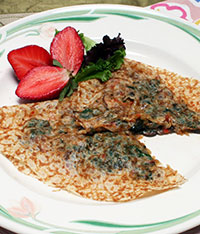 Chickpea Crepes with Spinach Mushroom Pesto