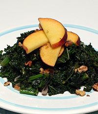 Kale with Peaches and Walnuts