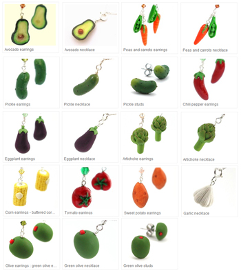 vegetable earrings