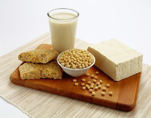 soybeans, tofu, soy milk, and bread
