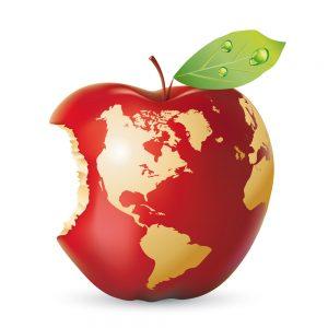 bigstock-Vector-red-apple-earth-28349387