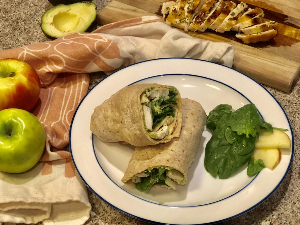 turkey wrap with avocado and apples