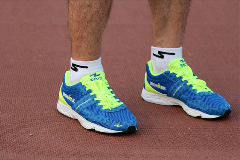 cobalt and yellow running shoes
