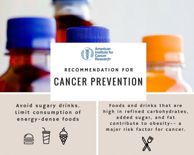 AICR cancer prevention and sugary drinks infographic