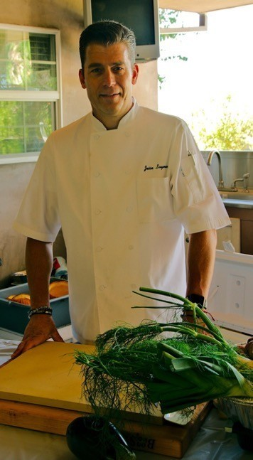 Chef Jesse Layman teaching a plant-based cooking class.