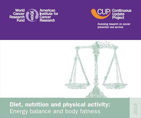 CUP Report on diet, nutrition, and physical activity logo with scales